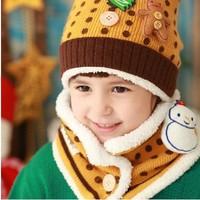 Two-piece - more children snowman warm hat scarf  scarf+ hat = 1 set baby hat children caps