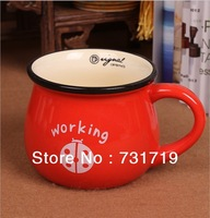 Wholesale   Large ceramic retro mug  Japanese breakfast milk cup  350ml