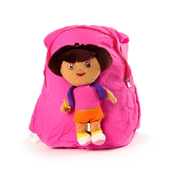 Free Shiping Plush+100%Cotton Dora The Explorer School Bags For Children Kids Backpacks Kindergarten Baby(China (Mainland))