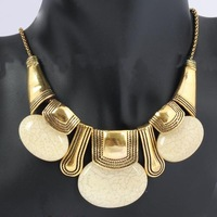 Vintage Retro Style Resin Charm Gold Plated Pendant Collar Chunky Necklace Gold Plated Chain