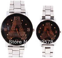 Free shipping MJ Couple's Watch 4 Numbers and Dots Hour Marks with Round Dial Steel Watchband - Dark Brown