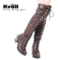 Free shipping Kvoll women's shoes PU lacing leopard print velvet liner thick high-heeled over-the-knee high heel long boots