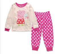 2014 New Girls Clothing George Pig Dot Long Sleeve Shirts Sets 100% Cotton Shirt Suit Peppa Pig Cartoon Children Clothing Set