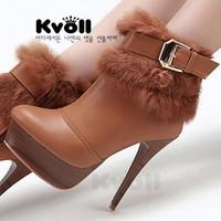 2014 Free shipping Kvoll women's shoes PU me rabbit fur liner flannelet ultra high heels thin heels lacing boots