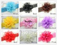 "Free Shipping!! 1.5"" Crochet Baby Headband +4"" Organza Flower Elastic Hair band Mix Color 40pcs/Lot"