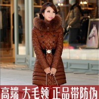 Meso ncler slim large fur collar down coat female women's medium-long