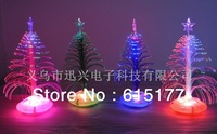 6pcs/lot Christmas Decoration Tree Cute and Compact LED Fiber Optic Christmas Tree Best Gift for Christmas Free Shipping