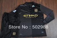 Best quality 2013/14 Manchester city away long sleeve football shirt & shorts set,man city black full sleeve soccer kit 2014