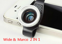 free shipping 2 In 1 mobile phone Universal Clip Lenses Lens For iPhone 4 4s 5 5s  ipad 2 3 New ipad mini Macro Lens Wide Angle
