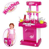 Girls small kitchen table child toy musical kitchen toys set