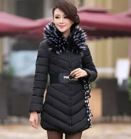 2013 Winter Plus Size XXL Fat Women's Down Coat Fur Collar Hood Maternity Outdoor Warm Parkas Pregnant Cotton-Padded Jackts