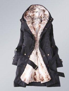 2012 NEW FANSHION Faux fur lining women's fur coats winter warm long coat jacket clothes wholesale Free Shipping (Black/white)