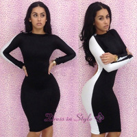 2013 New Free Shipping Hot Sale Sexy Celebrity Women Boutique Long Sleeve Ladies BodyCon Bandage Party dd06 Cocktail Dress