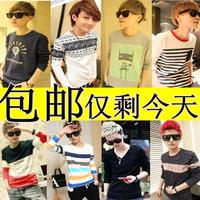 On sale 2013 autumn clothes fashion male long-sleeve T-shirt men's clothing basic shirt  male blouses