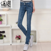 Free Shipping Mid women's elastic waist slim jeans skinny pants pencil pants fashion