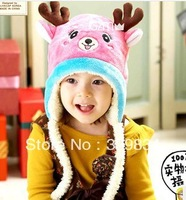 Free Shipping 1 Pcs Fashion Wholesales Winter Warm Cotton cashmere Cartoon Deer Kids Children Baby Hats Caps Beanies