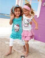 SH241 free shipping High-quality Summer Hello Kitty Baby Girl Suits Kids Sets headband+Dress+Pants Children Clothing 3pcs Set