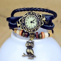 Hot! Promotion New Fashion Retro Style Owl Pendant 100% Hand-Woven Leather Quartz Watch