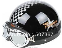 Black grid electric motorcycle helmets motorcycle helmet helmet send goggles brim