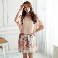 Hot sell, Women's Fashion Chiffon mini dress, Ladies fashion fold sleeve dress,Pink ,White,Free shipping,custom-made accept