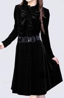 Autumn and winter big size clothing autumn slim velvet dress long-sleeve big size one-piece dress xxxxl