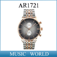 Free shipping 2013 new AR1721 Men quartz watch gradient rose gold dial Wristwatch AR 1721 + Original Box
