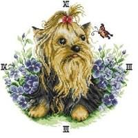 Free shipping DIY unfinished Cross Stitch kit animal dog yorkshire terrier dog clock cartoon 80585 painting ZA-G571