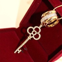 Accessories accessories gold key necklace rhinestone finger ring fashion necklace long necklace female