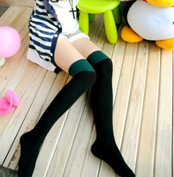 Over-the-knee socks stockings thick cotton stocking 100% color block decoration socks 4