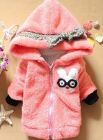 Free shipping girl cartoon cotton full sleeve coat kids character down jacket long sleeve tops clothes tees cotton-padded hat