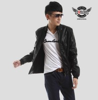 Hot new men's pu leather coat Korean Slim Fashion Men   leather jacket  Black Blue