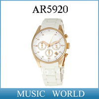 free shipping New AR5920 Watch Stainless Steel Quartz Watches CHRONOGRAPH Womens AR 5920 Wirstwatch White+Original Box
