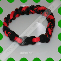 2013 hot sale Negative ion silicone bracelet sports 3 ropes braided titanium bracelet with multicolor,gift