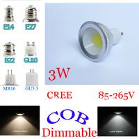 COB CREE MR16/GU10/E14/E27/GU5.3/E26 dimmable LED spotlight bulb lamp Warm white/Cool White Lamp Light 3W/5W/7W 12V/85-265V SAA