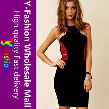 Hot Item!!!! 2013 New Bodycon Red Montage Black Mini Dress,Fashion Sexy Lady Garment YF2625 + Free shipping
