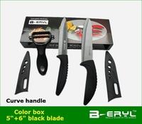 "BERYL color box 3pcs set ,5""+6"" with scabbard+peeler Ceramic Knife sets, black curve handle ,Black blade"