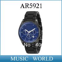Free shipping AR 5921 NEW BLACK SILICON CHRONOGRAPH MENS LATEST WRIST WATCH AR5921 +Original Box