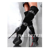16CM Sexy Ladies High Heel Boots,Super High Platform Knee High Boots,2013 European Popular Women Boots