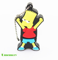 Retail real capacity 2g 4g 8g 16g 32g cartoon naughty sun Bart Simpson usb flash drive pen drive memory stick Drop Free shipping