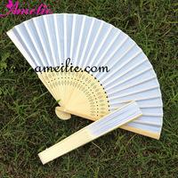 White Silk wedding hand fan