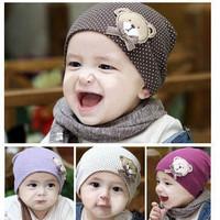 Princess bonnet pocket baby hat bear freckling of the child cap 100% cotton cloth baby hat