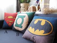 "Kim Store! Retail Classic Superman Batman Green Lantern Linen Throw Pillows Office Sofa Cushion 17""*17"" (with fillers)"