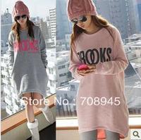 Best selling!women fleece hoodie fashionable casual loose sweatshirt dress free shipping