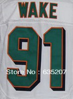 Free Shipping 2013 Elite American Football Jerseys #91 Cameron Wake White Color Shorts Embroidery Sewing logos Size M-XXXL