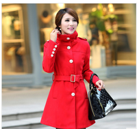 New arrival!2013 Winter Women's slim waist woolen buttonouterwear medium-long wool overcoat wasit sashes elegant woman outfit