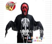 1 set Halloween costume dress masquerade performances skull skeleton ghost clothes + Props Masks Centipede