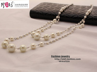 Free shipping Double layer crystal pearl long necklace gualian