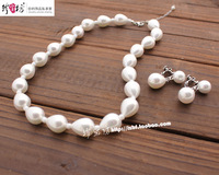 Free shipping Bridal accessories pearl necklace twinset wedding accessories necklace earrings