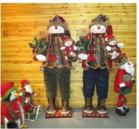 Рождественские украшения Factory Sale 2013 High-quality Indoor Decoration 100cm Christmas Plush Doll Santa Claus Snowman Gift