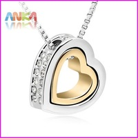 2014 18K Gold +White Gold  Double Heart Crystal Pendant Necklace Made With Swarovski Elements Crystal #99263